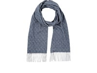 Colombo Men's Diamond Print Cashmere Scarf Navy