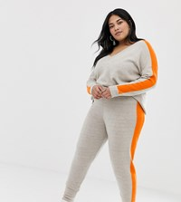 Asos Design Curve Co Ord Knitted Jogger With Tipping Grey