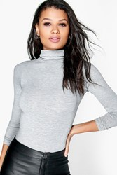 Boohoo Turtle Neck Long Sleeve Top Grey