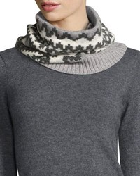 Sofia Cashmere Geometric Fair Isle Snood Gray White Grey White