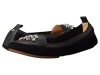 Yosi Samra Orly Kid Suede Loafer With Rhinestone Embellishment Black Women's Shoes