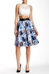 Tov Watercolor Floral Skirt Blue