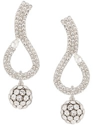 Alessandra Rich Crystal Embellished Pendant Earrings Silver