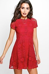 Boohoo Gia Contrast Lace Cap Sleeve Skater Dress Berry