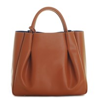 Alexandra De Curtis Ashley Midi Ruched Tote Cognac Brown