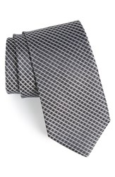 Men's John W. Nordstrom 'Raine Mini' Geo Print Silk Tie Black