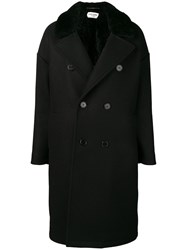 Saint Laurent Double Breasted Coat Black