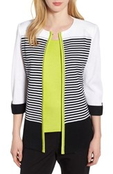 Ming Wang Piped Stripe Jacket Black Pear White