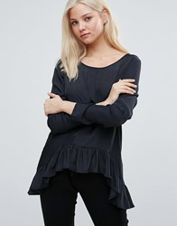 Vila Long Sleeve T Shirt With Peplum Hem Black
