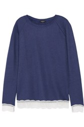 Cosabella Cortina Lace Trimmed Cotton Blend Pajama Top Storm Blue
