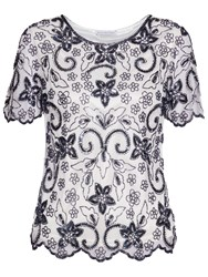 Gina Bacconi Beaded Top With Scalloped Hem Ivory Navy