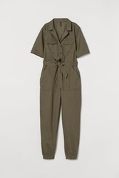 Handm H M Cotton Twill Jumpsuit Green