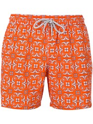 Capricode Geometric Leaf Print Shorts Men Polyamide L Yellow Orange