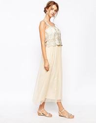 Soma London Vintage Lace Maxi Dress With Gold Embroidered