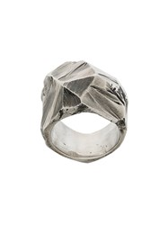 Lost And Found Ria Dunn Chunky Faceted Ring Stainless Steel Metallic
