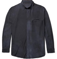 The Elder Statesman Oversized Hammered Silk Shirt Blue