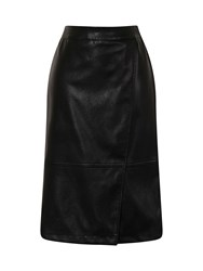 Hotsquash Leather Look Wrap Skirt In Clever Fabric Black