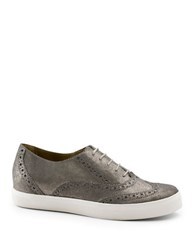 G.H. Bass Lacey Metallic Leather Lace Up Brogued Sneakers Grey
