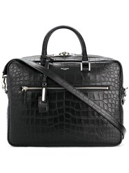 Saint Laurent Crocodile Embossed Briefcase Black