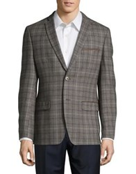 Tallia Orange Slim Fit Suede Trim Wool Plaid Sportcoat Taupe