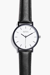 Boohoo Simplistic Oversized Watch With Pu Strap Black