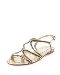 Jimmy Choo Nickel Chain Strappy Flat Sandal Gold Metallic