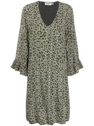 Essentiel Antwerp Snakeskin Print Dress Green