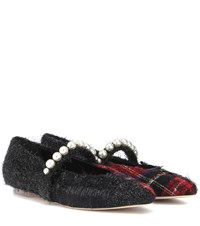 Simone Rocha Embellished Tweed Ballet Flats Black