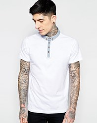Brave Soul Contrast Chambray Collar Polo Shirt White