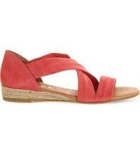 Office Hallie Cross Strap Suede Sandals Coral Suede