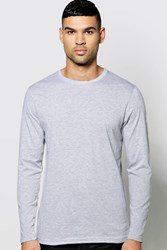 Boohoo Long Sleeve Crew Neck T Shirt Grey