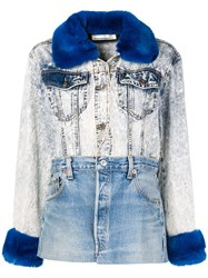 Night Market Fur Collar Patchwork Jacket Blue