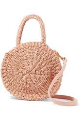 Clare V. Alice Petit Leather Trimmed Woven Abaca Straw Shoulder Bag Blush Gbp