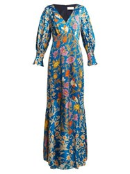 Peter Pilotto Floral Print Hammered Silk Blend Gown Blue Multi