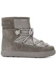 Moncler New Fancy Ankle Boots Women Leather Rubber Water 38 Grey
