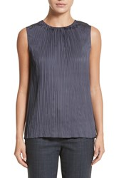 Lafayette 148 New York Janetta Posh Twill Blouse Admiral Blue