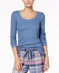 By Jennifer Moore Ribbed Pajama Top Created For Macy's Blue Skyline