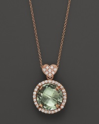 Lisa Nik Prasiolite And Diamond Rocks Pendant Necklace 18K Rose Gold 18 No Color