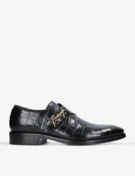 Balenciaga Logo Detail Croc Embossed Leather Monk Shoes Black