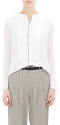 Pas De Calais Pleated Bib Gauze Shirt White