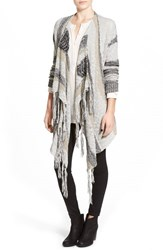 Junior Women's Sun And Shadow Intarsia Stripe Blanket Cardigan White Snow Sculpture Jacquard