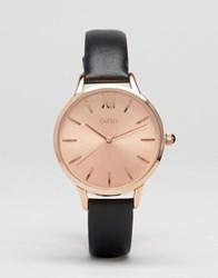 Oasis Black Leather And Rose Gold Watch Black