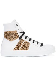 Amiri Leopard Print Panel Hi Top Sneakers Men Leather Rubber 9 White