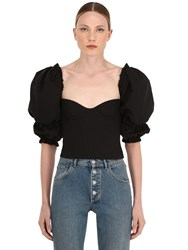 Brock Collection Ruffled Cotton And Linen Bustier Top Black