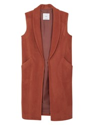 Mango Side Pocket Wool Blend Waistcoat Medium Brown