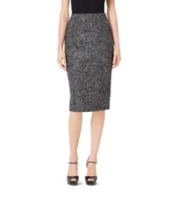 Michael Kors Tweed Wool Boucle Pencil Skirt Black White