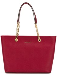 Michael Michael Kors Double Chain Straps Tote Red