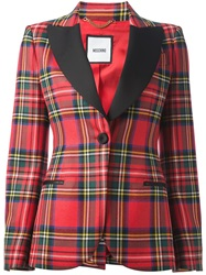 Moschino Tartan Check Blazer Red