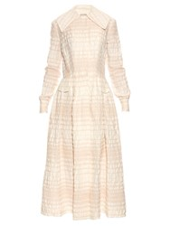 Emilia Wickstead Alicia Long Sleeved A Line Dress Cream Stripe