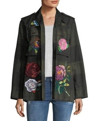 Libertine Beaded Floral Embroidered Army Jacket Green